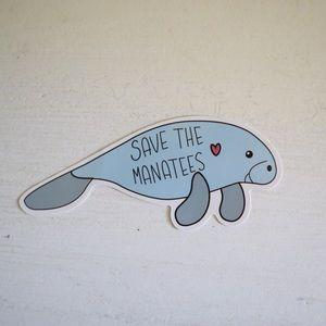 """Save the manatees"" sticker"